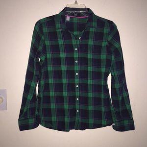 Plaid Button down Shirt long sleeves Petite M